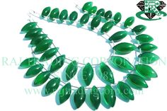 Green Onyx Smooth Dew Drops (Quality AAA) Shape: Dew Drops Smooth Length: 18 cm Weight Approx: 20 to 22 Grms. Size Approx: 6.5x15 to 8.5x19 mm Price $19.80 Each Strand