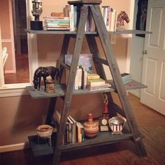 A simple DIY bookcase can be made with a ladder and some wood planks.  And lots of other book storage ideas.