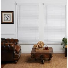 Perfect Lift Window Treatment White 2 in. Cordless Faux Wood Blind - 45 in. W x 64 in. L
