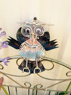 Garden owl made from recycled material