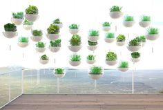 Skyfarm, a hanging balcony garden concept, by Manuel Dreesmann. Skyfarm, a hanging balcony garden co Balcony Herb Gardens, Vertical Gardens, Outdoor Gardens, Vertical Planting, Vertical Farming, Hanging Planters, Hanging Baskets, Hanging Gardens, Planter Boxes
