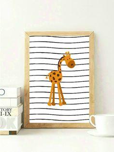 Orange Giraffe Print Orange Nursery Decor by VeganArtByTafida