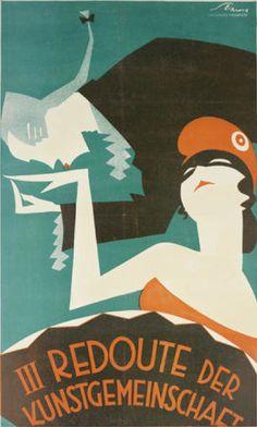 By Austrian graphic designer Victor Theodor Slama (1890-1973), 'III Redouter der Kunstgemeinschaft.