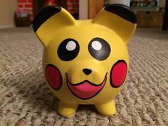 Pokemon Pikachu Hand Painted Ceramic Piggy Bank by KaleyCrafts