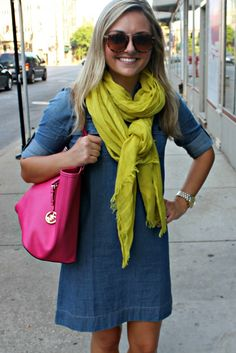 love the bright colors with the chambray dress