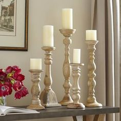 The Turned Candleholder Set at Birch Lane. Candles And Candleholders, Wood Candle Holders, Candle Holder Set, Candlestick Holders, Candlesticks, Pillar Candles, Flickering Candle, Candelabra, Scented Candles