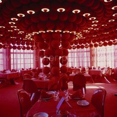 Varna restaurant, Arhus DK  Year: 1971  The architectural commission at the Varna restaurant in Arhus was for the interior design. Verner Panton took his inspiration here from the outside design of the building which shows in particular in the round corner columns of the building. Fabrics from Mira-X were used by Panton to focus on proportions and connections, and using colour and shapes gave each room its unique dynamics.