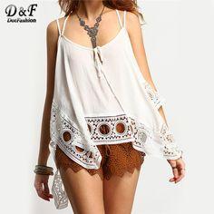 2016 New Summer Style Women Fashion Clothing Ladies Shirts White Tops Spaghetti Strap Crochet Cami Top