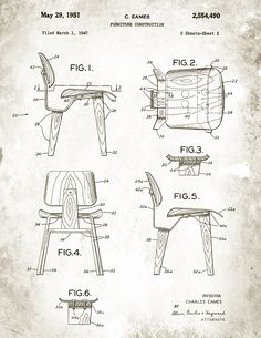 Patent Drawings: - 1947 Eames Molded Plywood Lounge Chair, LCW - 1957 Eero Saarinen Tulip Chair Source: hermanmiller.com | architecture.about.com