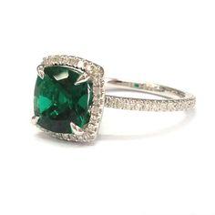 $588 Cushion Emerald Engagement Ring Pave Diamond Wedding 14k White Gold 8mm, Full Eternity