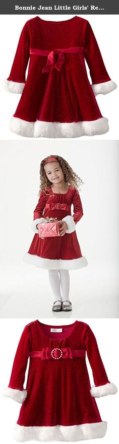 Bonnie Jean Little Girls' Red Velvet Emma Dress, 3T. She'll be the cutest kid at the holidays! This festive dress is made with red velvet and trimmed with white, faux fur. Dress has long sleeves, a ruched scoop collar, and a satin bow (with buckle accent) across the chest. Velvet has shimmery accents woven within the fabric. Your little one is sure to garner lots of compliments when wearing this beautiful dress!!.