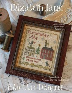 Elizabeth Jane is the title of this cross stitch pattern and is the 12th and final design in the Anniversaries Of The Heart series. The cross stitch pattern is stitched with Weeks Dye Works