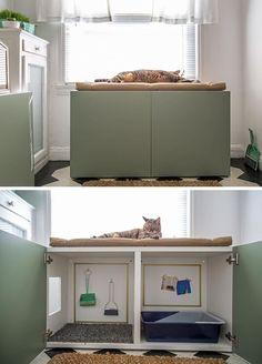 10 Ideen zum Verstecken Ihrer Katzentoilette – Katzenmöbel und mehr / Catfurn… 10 Ideas to Hide Your Cat Toilet – Cat Furniture and More / Catfurniture and more – their # Cat furniture Hidden Litter Boxes, Litter Box Covers, Cat Litter Box Diy, Cat Litter Cabinet, Cat Litter Box Enclosure, Cat Litter Mat, Cat Toilet, Ideal Toys, Cat Room