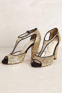 """Cava T-Straps #anthropologie. A height I can't pull off anymore, but I really like the t-strap, and the sparkles for the time you just want to dress up and perhaps, """"cut a rug""""."""