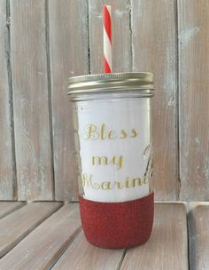 Bless My Marine - Glitter Dipped - Mason Jar - Military - Soldier - Glass Tumbler - 24 oz by TittleBits on Etsy