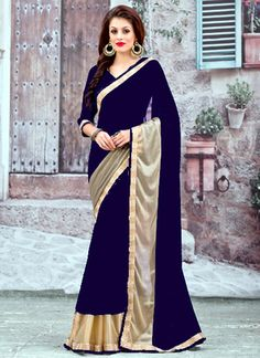 Silons Designer Blue Coloured Georgette Latest Look Saree Sarees on Shimply.com