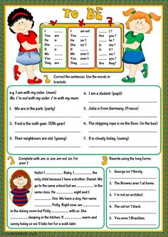 Verb to be interactive and downloadable worksheet. You can do the exercises online or download the worksheet as pdf.