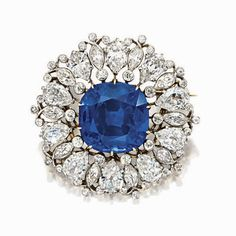 IMPORTANT SAPPHIRE AND DIAMOND BROOCH/PENDANT, Tiffany & Co. | lot | Sotheby's. Kashmir. 18.60 carats.