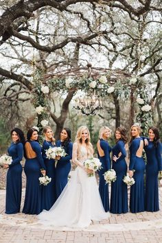 Long sleeve sexy open back navy blue bridesmaid dress inspiration. Perfect for a. - Long sleeve sexy open back navy blue bridesmaid dress inspiration. Perfect for a winter wedding. Dark Blue Bridesmaid Dresses, Blue Bridesmaids, Wedding Bridesmaid Dresses, Bridesmaid Colours, Winter Wedding Bridesmaids, Wedding Navy, Navy Blue, Wedding Venues, Wedding Ideas