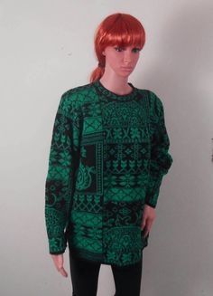 Green and Black Women's Sweater  Green Wool by VintageElations