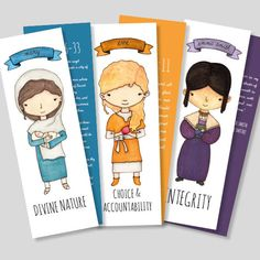 "Set of 8 ""Women of the Scriptrues"" bookmarks.  These bookmarks are women from the scriptures paired with a specific Young Women value and its color. On the front side you'll find the illustration, the name, and the value. On the back side you'll find a scripture or a quote.  These make a great gift for multiple occasions.  New Beginnings, Young Women in Excellence, a welcome gift for a new Beehive, or simply a gift for your daughter."