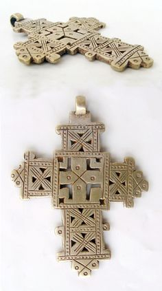 Africa | Large Ethiopian Coptic Cross; coin silver | Sold