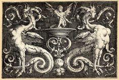Lucas van Leyden. Ornamento con dos esfinges.