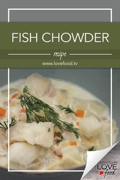 Fish Chowder Save Recipe Print Ingredients / 4 lb) salt pork, chopped 2 medium onions, finely chopped 2 sticks celery, chopped 1 carrot, peeled and chopped 3 cups peeled… Soup Pan, Soda Crackers, Fish Chowder, Salt Pork, My Grandmother, Chowder Recipes, Clams, Fish Recipes, Love Food
