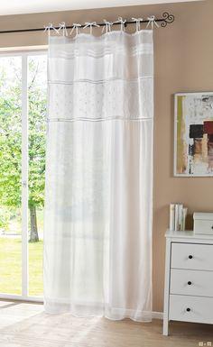Vorhang im Landhaus-Look, lichtdurchlässiger Deko-Schal, Leinenoptik, dekorative Biesen, nostalgischen Hohlsäumen u. Paisleystickerei