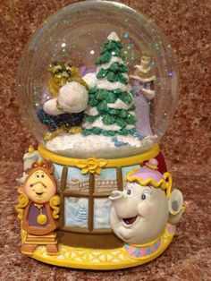 Retired Disney Beauty and the Beast Christmas Snowglobe ***SOLD***