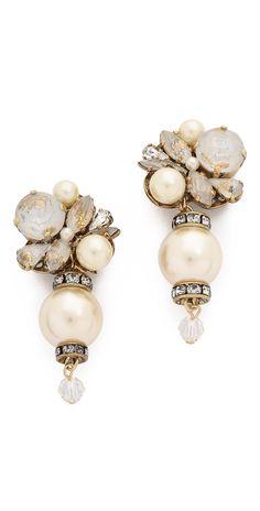 Erickson Beamon Glass Pearl & Crystal Earrings | SHOPBOP