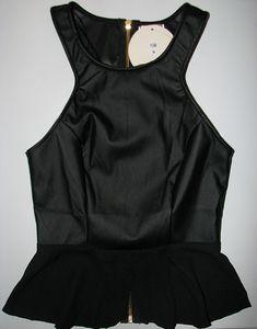Leatherette Chiffon Peplum Top with gold zip at back from bottom to top. Peplum, Chiffon, Zip, Clothing, Gold, Women, Style, Fashion, Silk Fabric
