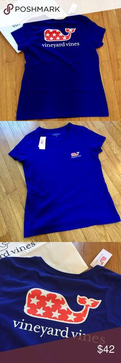 Vineyard Vines whale tee-shirt Royal blue T-shirt features the popular Vineyard Vines whale sporting a patriotic pattern! The pattern is called stars whale. Perfect for memorial day and Fourth of July, this T-shirt features a front pocket and large back logo. 19 inch bust, 26 inch length. See the complementary toddler T-shirt also in my closet! New with tag! Retail $49.50 Vineyard Vines Tops Tees - Short Sleeve