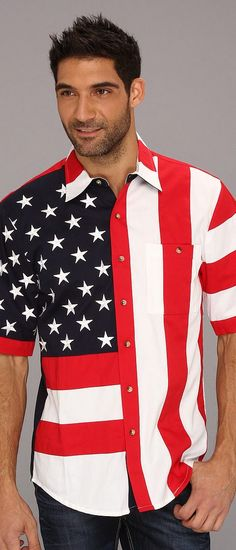 Scully Patriot S/S Shirt (Red/Red) Men's Short Sleeve Button Up - Scully, Patriot S/S Shirt, RW029SS, Clothing Men's Shirts Short Sleeve Button Downs, Short Sleeve Button Up, Top, Apparel, Clothes Clothing, Gift, - Street Fashion And Style Ideas