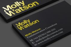 Logotype and business card with yellow foil detail designed by Studio Blackburn for communications specialist Molly Watson
