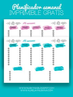 imprimibles gratis agenda scrapbooking Planificador semanal imprimible  Planifica tu día a día y tenlo todo controlado.