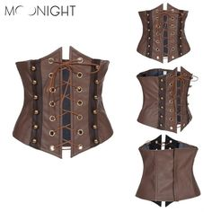 MOONIGHT Brown Synthetic Leather Lace Up Sexy Corset Hollow Out Underbust Corset Top Corsets And Bustiers