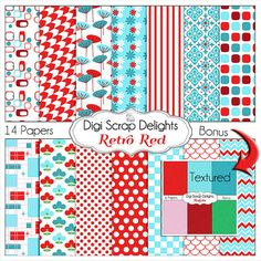 Retro Red Aqua Turquoise Digital Papers by DigiScrapDelights,