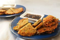 Scallion Potato Latkes with Ginger Dipping Sauce. The sauce can be used with Scallion Pancakes as well.