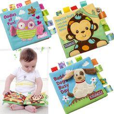 4ページ赤ちゃん早期教育玩具刺繍柔らかい布ブックベビーカーおもちゃ新生児0-12ヶ月CX880065
