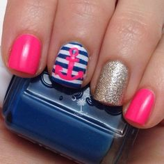 Navy style nail with straps and a little anchor...so beautiful for summer..!!!