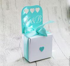 """Купить """"Любовь"""" Бонбоньерка - мятный, бонбоньерка, бонбоньерки на свадьбу, упаковка подарочная, плотная бумага"""