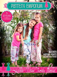 to size 10, pockets, no drop crotch Girls Harem Pants PDF Pattern 'Little Miss by MyPatternEmporium, $12.00