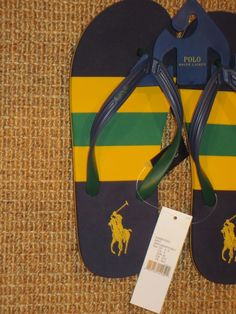 395253c650d POLO RALPH LAUREN MENS SANDALS FLIP FLOPS SIZE 9 PONY LOGO NAVY BLUE NEW