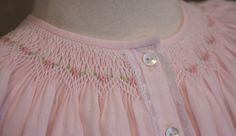 What have I been working on? A pink bishop dress for baby Emma. The dress is made from Imperial Batiste, buttons down the front and has lac. Smocking Baby, Smocking Plates, Smocking Patterns, Sewing Patterns, Skirt Patterns, Coat Patterns, Blouse Patterns, Smocked Baby Clothes, Smocked Dresses