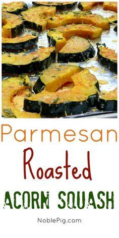 Parmesan Roasted Acorn Squash: Didn't like it. Acorn Squash Recipes Healthy, Vegetable Recipes, Vegetarian Recipes, Cooking Recipes, Healthy Recipes, Vegetable Bake, Radish Recipes, Healthy Meals, Acorn Squash Baked