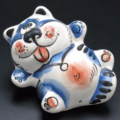 Lazy Cat Russian Gzhel Colorful Porcelain Figurine Russian Happy Kitty Cat