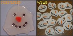 Snowmen made from dried glue - now what child does NOT want to squeeze the glue bottle until it is empty!