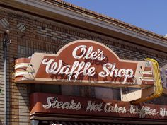 """I love this old-timey neon sign on """"Ole's Waffle Shop"""" in Alameda, California.  (And the bricks in the background almost look like a 1920s art deco-style building!)"""