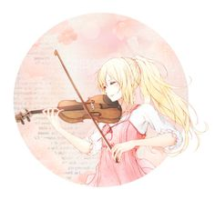 """""""Just listen to the music."""" by carebear-chan ❤ liked on Polyvore featuring art, anime, ShigatsuwaKiminoUso, yourlieinapril and kaorimiyazono"""